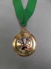 high relief color racing medal green neck drape