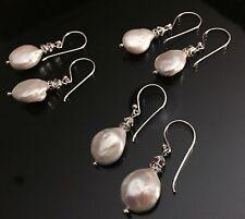 Fresh Water Pearl Earrings With Swarovski Crystal - Sterling Silver Hook -1 Pair