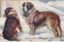 Animals: DOGS -- 2 SAINT BERNARDS, The Return to the Monastery, Oilette postcard