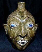 Clint Alderman 2007 Georgia Folk Art Pottery Face Jug