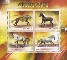 Madagascar - 2014 horses on stamps - 4 stamp sheet - 13d-335