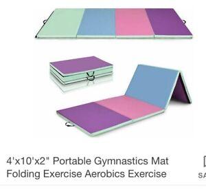"4'x10'x2"" Portable Gymnastics Mat Folding Exercise Aerobics Exercise Gym Fitness"
