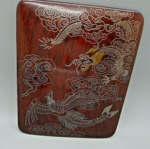 CHINESE ROSEWOOD ANTIQUE DRAGON BIRD OF PARADISE SILVER & GOLD INLAY BOX RARE