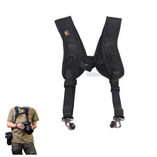 Double Shoulder Sling Belt Quick Rapid Strap for 2 DSLR Camera / Lens binoculars