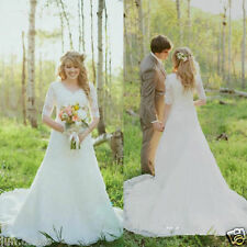 Vintage A Line V Neck Wedding Dress Half Sleeve Modest Bridal Gown Custom size
