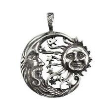 Windblown Celestial Amulet Pewter Necklace Pendant Sun & Elder Moon Stars NEW