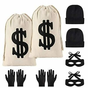 Yaromo 8 Pieces Robber Costume Set,Include Canvas Dollar Sign Money Bags Bandit