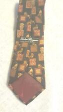 Salvatore Ferragamo Tie black brown red animal print Lion Lioness Silk Italy