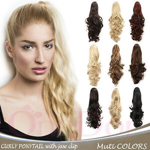 "OneDor 20"" Long Curly Hair Synthetic Claw Clip Drawstring Ponytail Extensions"