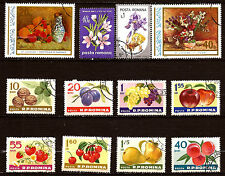 RUMANIA fruits y flores :Ps,fresa,nuez,uvas,ciruelas 64T4