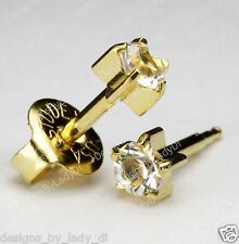 Ear Piercing Earrings Studex Gold Studs MAXI 5mm Clear April Pronged Gem