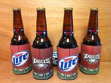 Miller Lite Philadelphia Eagles Can / Bottle Koozie Cooler - Set of 4 NEW & F/S
