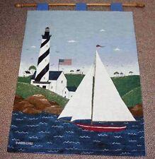 Coastal Breeze Lighthouse & Sailboat Tapestry Wall Hanging w/o Rod Warren Kimble