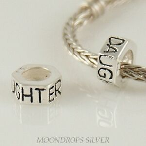 DAUGHTER Hexagonal Spacer - Solid 925 sterling silver European charm bead