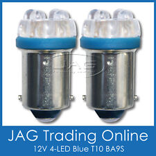 PAIR 12V 4-LED BLUE T10 BA9S AUTO/CAR GLOBES - Car/Automotive/Parker Lights