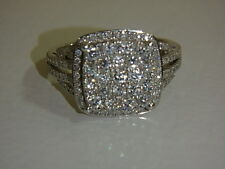 14K WHITE GOLD SQUARE CLUSTER DESIGN DIAMOND 1 CT TW RING BY AFFINITY FROM QVC