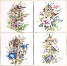 "Bird House Ceramic Tile Magnolia Flower set of 4 Assort 4.25"" Kiln Fired Decor"