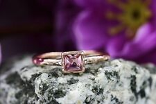 Princess Cut Tourmaline Hammer 14k Rose Gold Solitaire Promise Engagement Ring.