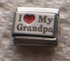 """I LOVE MY GRANDPA""-RED HEART ITALIAN 9MM CHARM GRANDFATHER, PAPA, GRANDCHILDREN"
