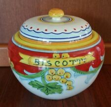 Vintage DERUTA POTTERY ITALY BISCOTTI COOKIE JAR CANISTER
