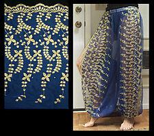 Harem Pants Belly Dance Blue w/ Gold Brocade Slit 2