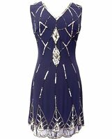 Damen blau Kleid Tunika Top Abend 1920er Schiftkleid Größe 8 10 12 14