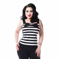 Rockabella Katariina Top Ladies Black White Goth Emo Punk
