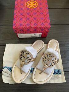 TORY BURCH Miller Logo Metallic Glossy Snake Print Sandals Rose Gold Size 7.5