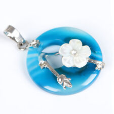Holiday Natural Blue Fire Agate Flower Carved Shell Gems Silver Necklace Pendant