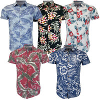 Mens Hawaii Shirt Threadbare Floral Print Short Sleeved Beach Holiday Summer New