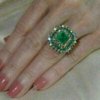 3 Ct Emerald Diamond Cluster Women Wedding Engagement Ring 14K Yellow Gold Over