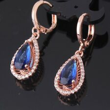 Bridal jewelry !18k rose gold filled noble sapphire dangle smart earring