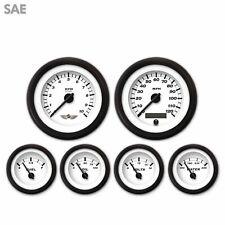 6 Gauge Set with emblem - SAE Classic, Black Modern Needles, Black Trim flathead