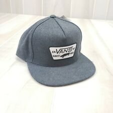 VANS Men's Hat Snapback Gray Wool Felt Classic Logo Skateboard Cap Off the Wall