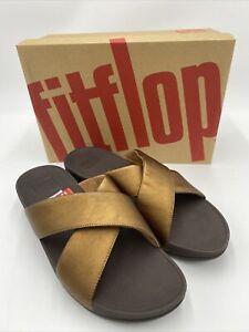 FitFlop us shoes woman LULU CROSS SLIDE SANDALS Bronze 11M