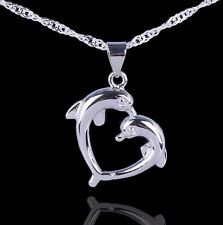 """Lovely Womens Silver Double Love Dolphin Heart Pendant Necklace with 18"""" Chain"""