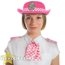 ADULT PINK WPC POLICE WOMAN HAT WITH EPAULETTES & SCARF FANCY DRESS BRITISH
