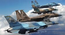 "F-16 FALCON & F-15 EAGLE AIR FORCE JET 24""x 43"" HD WALL MILITARY POSTER PRINT"
