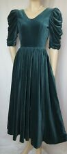 Laura Ashley Samtkleid 34 blau grün Abendkleid vintage Theater Baumwolle Samt