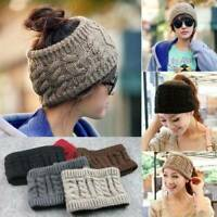 Womens Beanie Tail Messy Bun Hat Ponytail Stretch Knit Crochet Skull Head Band