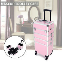 Professional 4 In1 Salon Makeup Trolley Case Divider Rolling Organizer Box Lock
