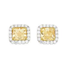 Fancy Yellow GIA Certified 2.70 Carat Cushion Cut Diamond 18k Gold Earrings Set