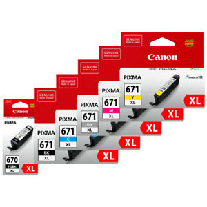 Genuine Original Canon 670XL / 671XL Black And Colour / Value Pack Ink Cartridge