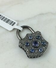 Antiqued Sterling Silver, IOLITE and Diamond pendant padlock clasp BEAUTIFUL
