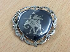 VINTAGE SIAM STERLING SILVER NIELLO ELEPHANT BROOCH PIN 1940