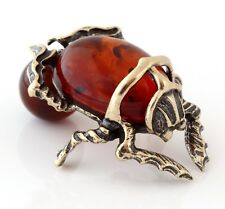 Egyptian Scarab Brass Beetle Figurine Baltic Amber Insect Miniature Sculpture