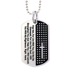 Dog Tag Cross Necklace Pendant Stainless Steel Necklace Chain Jewelry FD