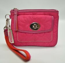 Coach Hot Pink Nylon Quilted Signature Small Turnlock Zip Wristlet Coin Wallet