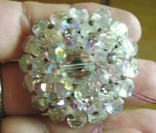 Rhinstone Layered Brooch Vintage Gorgeous,-Aurora Borealis/Clear