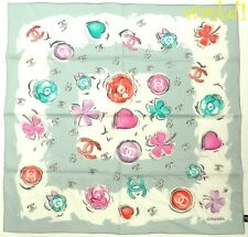 "CHANEL cotton batiste Gray CC logos 4-leaf Clovers 22"" BANDANA scarf NEW Authent"